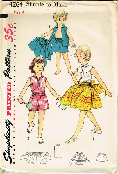 1950s Vintage Simplicity Sewing Pattern 4264 FF Toddler Girls Play Clothes Sz 4