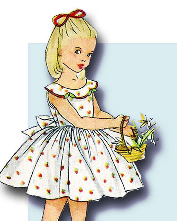 1950s Original Vintage Simplicity Pattern 4274 Toddler Girls Sun Dress & Petticoat Sz 2