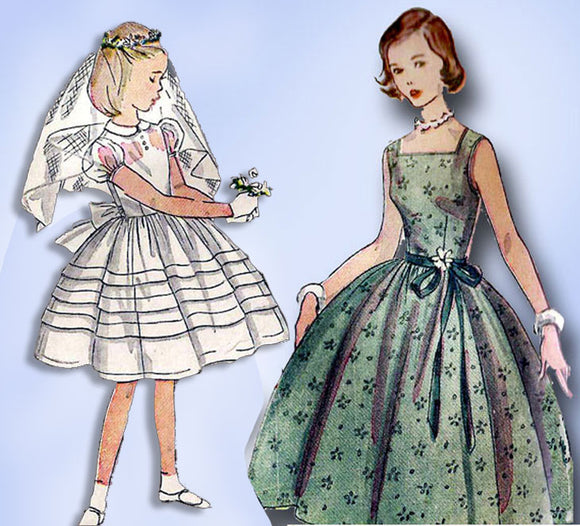 1950s Vintage Simplicity Sewing Pattern 4275 Little Girls Confirmation Dress 14