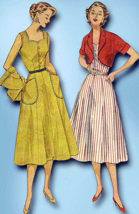 1950s Misses Simplicity Sewing Pattern 4282 Uncut Misses Sun Dress Size 14 32B