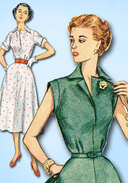 1950s Vintage Simplicity Sewing Pattern 4284 Uncut Misses Street Dress Size 33 B