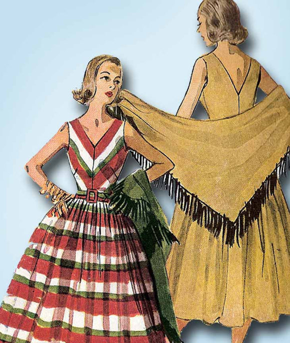 1950s Vintage Simplicity Sewing Pattern 4287 Misses Sun Dress & Shawl Size 14
