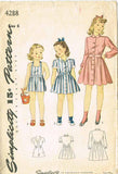 1940s Vintage Simplicity Sewing Pattern 4288 Toddler Girls Playsuit & Dress Sz 6