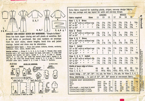 1960s Vintage Simplicity Sewing Pattern 4298 FF Misses 7 Day Dress & Jacket 34B