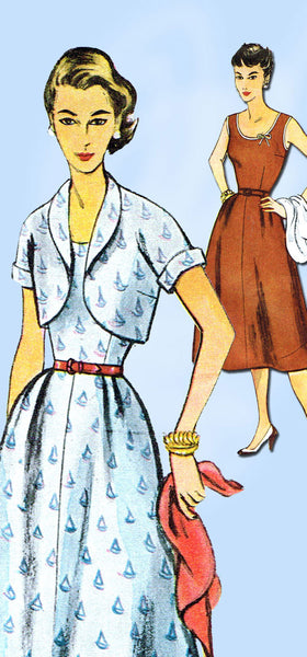 1950s Misses Simplicity Sewing Pattern 4306 Uncut Sun Dress and Topper Sz 18 36B
