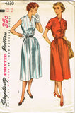 1950s Vintage Simplicity Sewing Pattern 4330 Uncut Misses Day Dress Size 14 32B