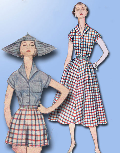 1950s Vintage Simplicity Sewing Pattern 4340 Uncut Misses Shorts and Blouse Sz12