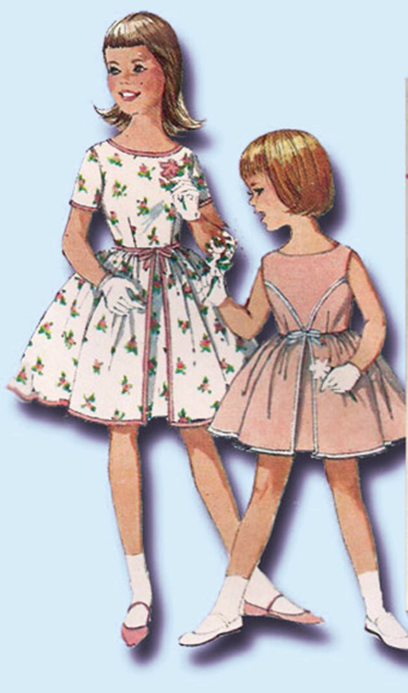1960s Vintage Simplicity Sewing Pattern 4366 Uncut Girls Party Dress Size 8 vintage4me2