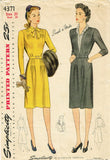 1940s Vintage Simplicity Sewing Pattern 4371 Easy WWII Misses Street Dress 38 B