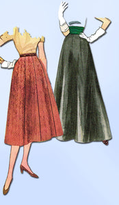 1950s Vintage Simplicity Sewing Pattern 4374 Uncut Simple Misses Skirt Sz 24 W