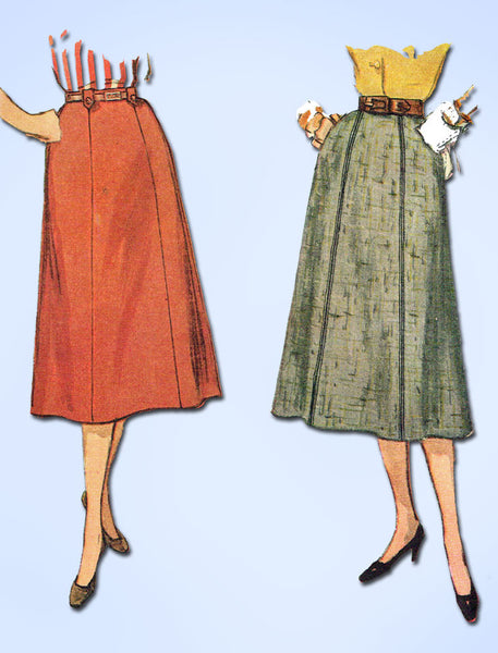 1950s Vintage Simplicity Sewing Pattern 4375 FF Simple to Make Skirt Size 24 W