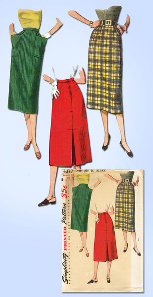 1950s Vintage Simplicity Sewing Pattern 4377 Uncut Misses Easy Day Skirt Sz 24 W