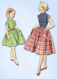 1950s Vintage Simplicity Sewing Pattern 4387 Little Girls Casual Dress Size 7 - Vintage4me2