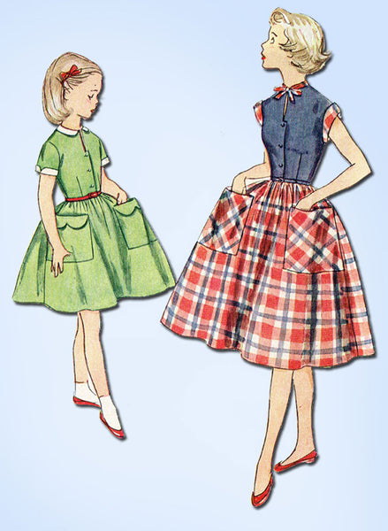1950s Vintage Simplicity Sewing Pattern 4387 Little Girls Casual Dress Size 7