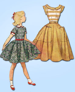 1950s Vintage Simplicity Sewing Pattesrn 4388 Little Girls Dress Pattern Size 10