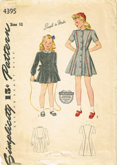 1940s Vintage Simplicity Sewing Pattern 4395 Easy Little Girls Princess Dress 10