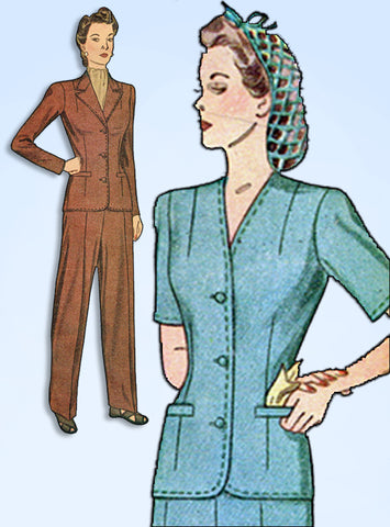 1940s Vintage Simplicity Sewing Pattern 4407 WWII Rosie the Riveter Pants Suit