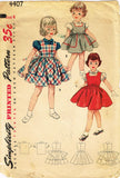 1950s Vintage Simplicity Sewing Pattern 4407 Toddler Girls Jumper Dress Size 4