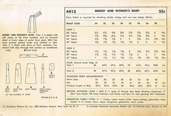 1950s Vintage Simplicity Sewing Pattern 4413 Uncut Misses Day Skirt Size 26 W