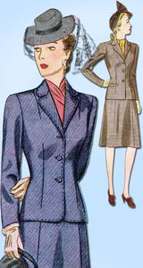 1940s Vintage Simplicity Sewing Pattern 4416 Misses WWII Tailored Suit Sz 34 B