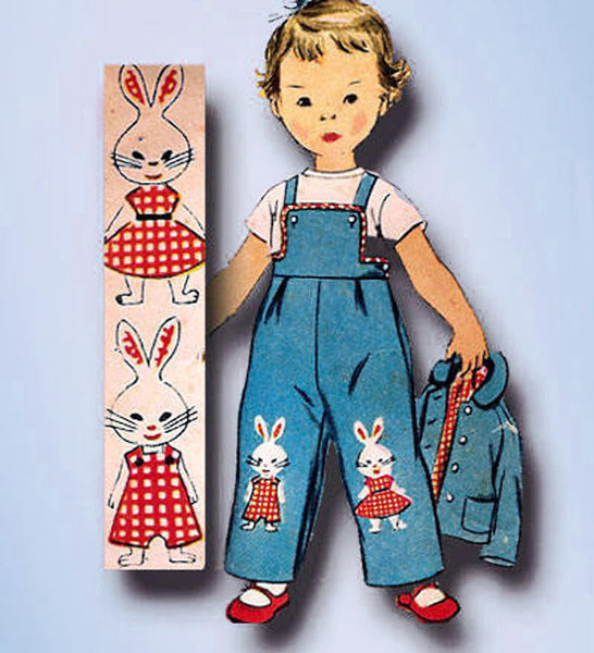 1950s Vintage Simplicity Sewing Pattern 4417 Uncut Toddlers Bunny Overalls Size 2
