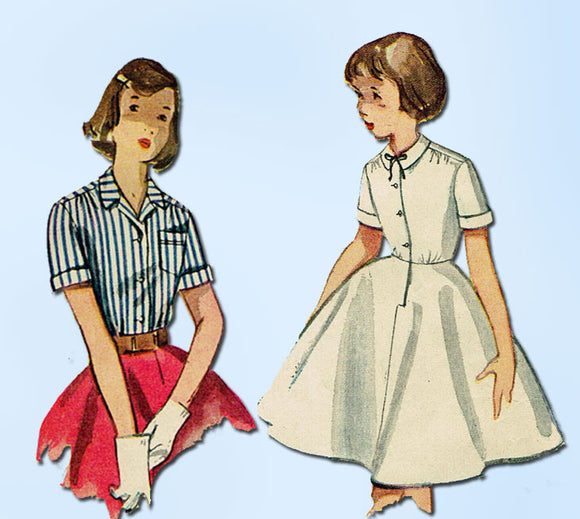 1950s Vintage Simplicity Sewing Pattern 4419 Girls Combination Blouse Slip Sz 10