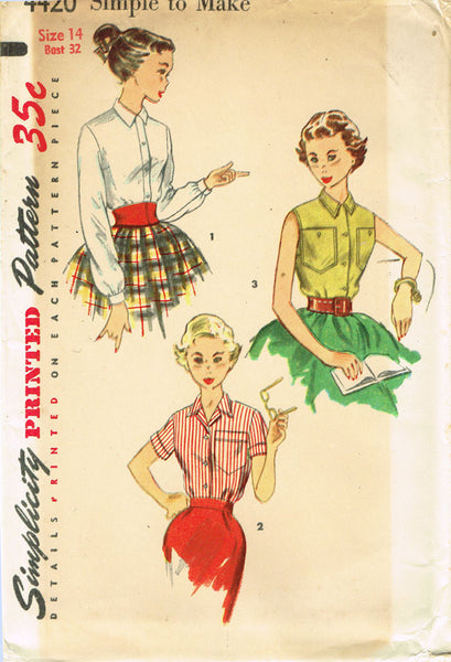 1950s Vintage Simplicity Sewing Pattern 4420 FF Easy Misses Blouse Size 14 32B