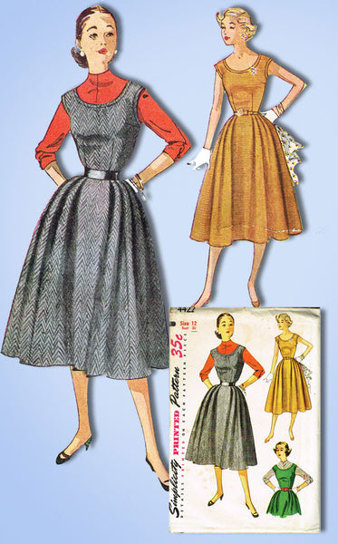 1950s Vintage Simplicity Sewing Pattern 4422 Uncut Misses Jumper Dress Sz 12 30B