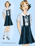 Simplicity 443: 1930s Uncut Girls Skirt & Blouse Size 10 Vintage Sewing Pattern