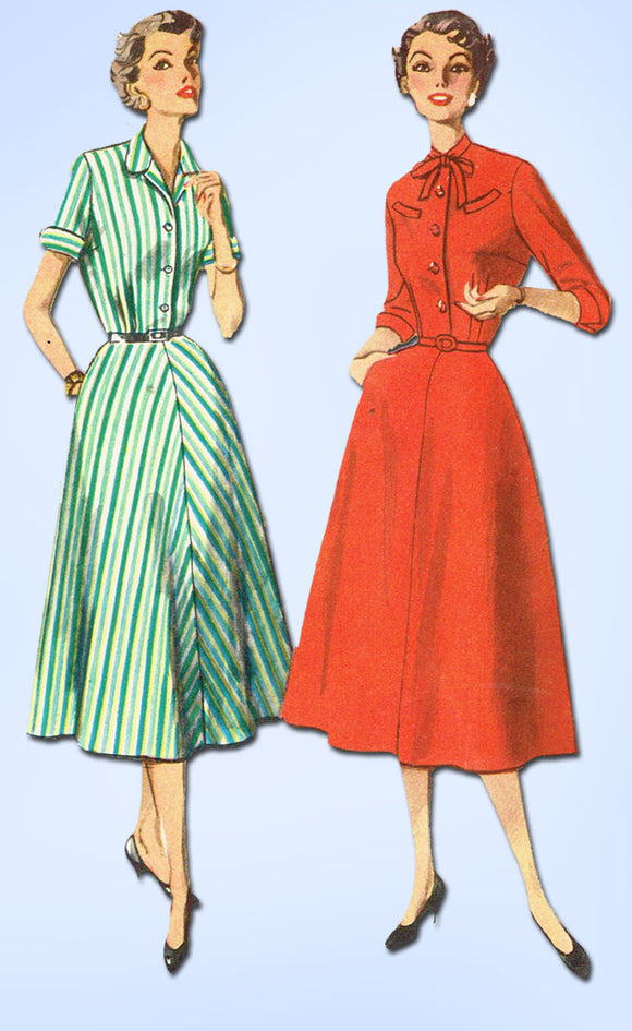1950s Vintage Simplicity Sewing Pattern 4430 Uncut Misses Shirtwaist Dress Sz 18
