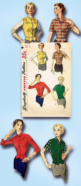 1950s Misses Simplicity Sewing Pattern 4433 Misses Weskit Vest & Jacket Sz 12 30B