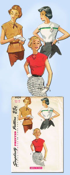 1950s Vintage Misses Simple Blouse Uncut 1953 Simplicity Sewing Pattern Size 16