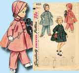 1950s Vintage Simplicity Sewing Pattern 4454 Baby Girls Coat Hat and Pants Sz 1