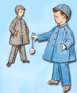 1950s Vintage Simplicity Sewing Pattern 4455 Todder Boys Coat and Hat Size 2 FF