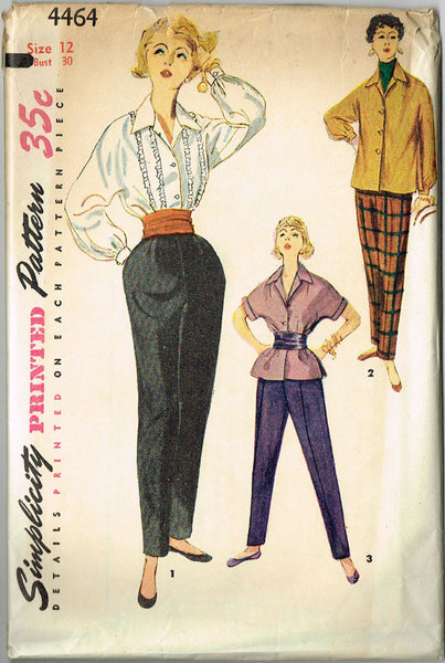 1950s Misses Blouse & Pants Uncut 1954 Simplicity Sewing Pattern 4464 Sz 12 30B