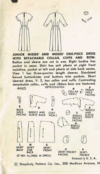 1950s Vintage Simplicity Sewing Pattern 4465 Uncut Misses Day Dress Size 16 34B