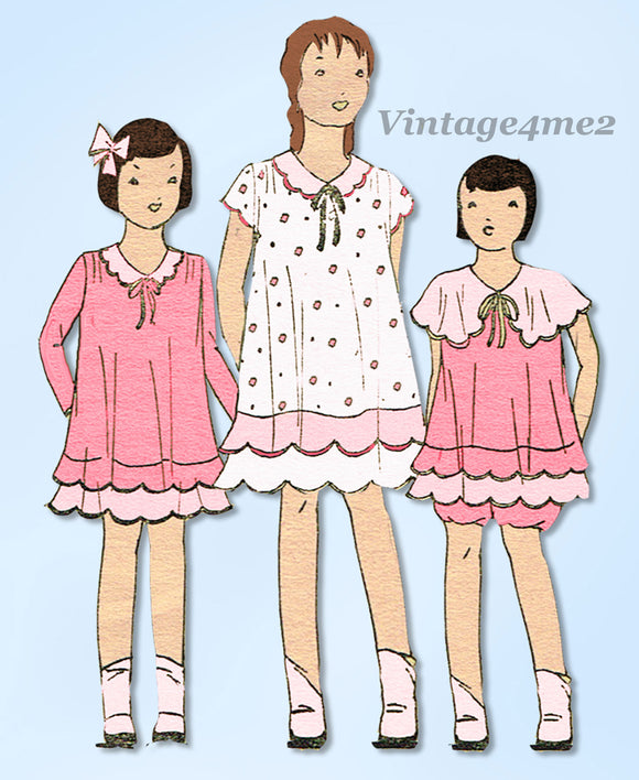 Simplicity 447: 1930s Uncut Girls Bloomer Dress Size 8 Vintage Sewing Pattern - Vintage4me2