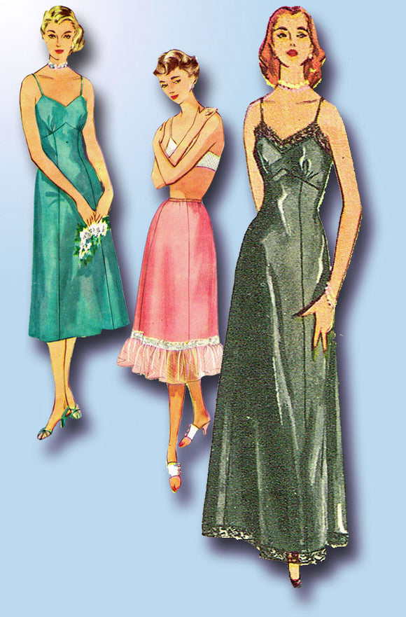 1950s Vintage Simplicity Sewing Pattern 4470 Uncut Misses Set of Slips Size 16
