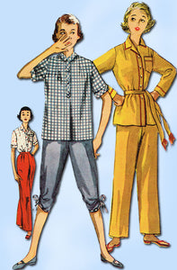 1950s Vintage Simplicity Sewing Pattern 4473 Uncut Misses 2 PC Pajamas Size 12