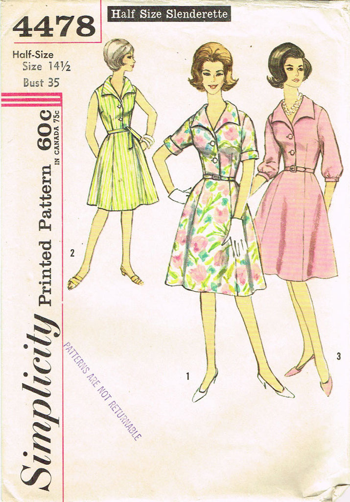 1960s Vintage Simplicity Sewing Pattern 4478 Uncut Misses Dress Sz ...