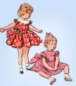 1950s Vintage Simplicity Sewing Pattern 4480 Uncut Toddler Girls Dress Size 2