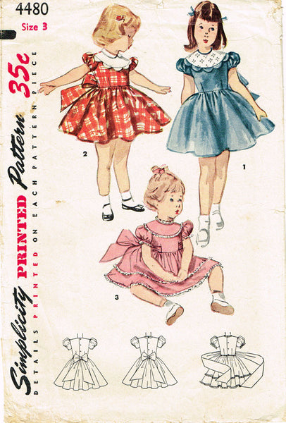 1950s Vintage Simplicity Sewing Pattern 4480 Toddler Girls Party Dress SIze 3