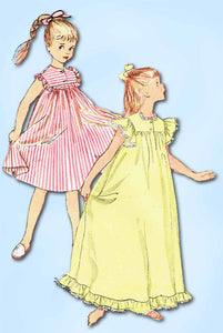 1950s Vintage Simplicity Sewing Pattern 4484 Little Girls Nightgown Size 10