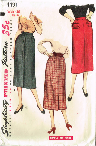 1950s Vintage Simplicity Sewing Pattern 4491 Simple to Make Misses Skirt Sz 26 W