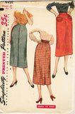 1950s Vintage Simplicity Sewing Pattern 4491 Uncut Misses Easy Skirt Size 24 W