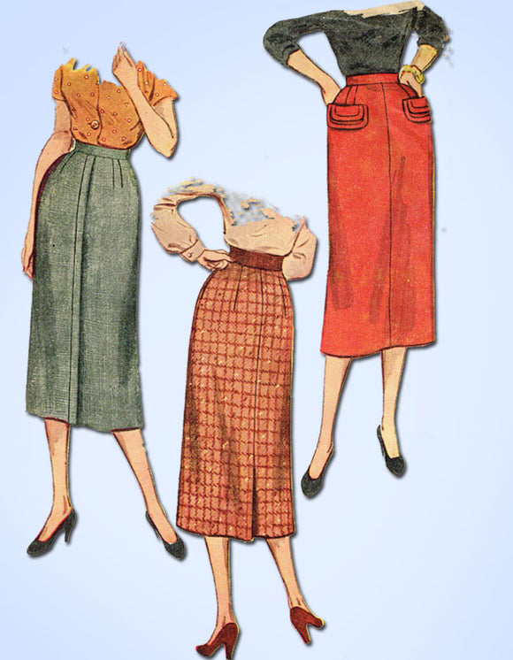 1950s Vintage Simplicity Sewing Pattern 4491 Easy Womens Plus Size Skirt 32 W