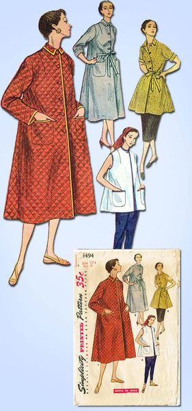 1950s Vintage Simplicity Sewing Pattern 4494 Easy Misses Robe or Duster Size 31B