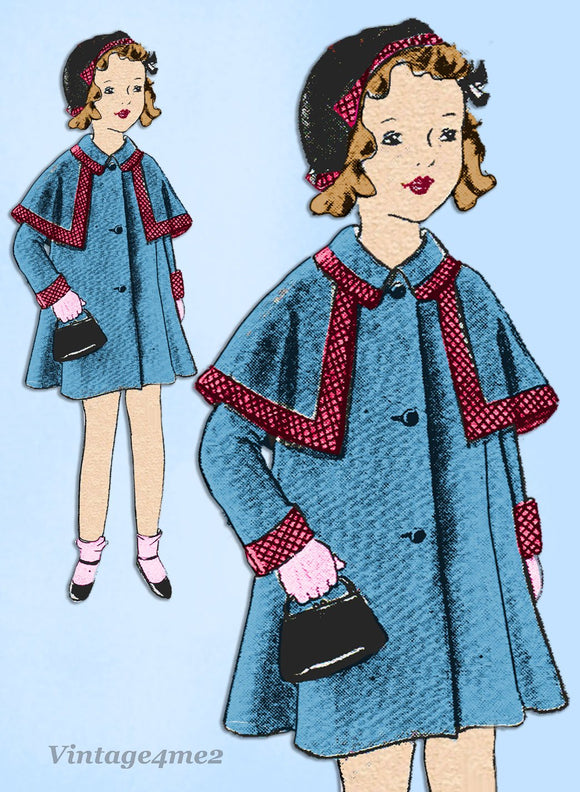 Simplicity 450: 1930s Uncut Girls Raglan Coat Size 8 Vintage Sewing Pattern