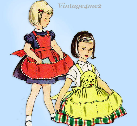Simplicity 4501: 1950s Toddler Girls Puppy Face Apron Sz6 Vintage Sewing Pattern