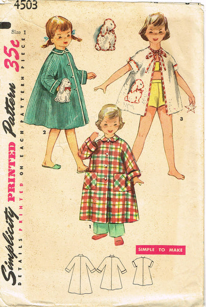 1950s Vintage Simplicity Sewing Pattern 4503 Baby Girls Beach Coat or Robe Sz 1